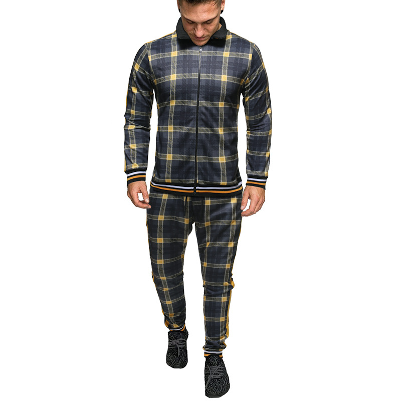 New Colorful Plaid Men Casual Zipper Set Autumn Tracksuit Male Sweatshirt Pocket Fashion Running Jackets Men Tracksuit Sets