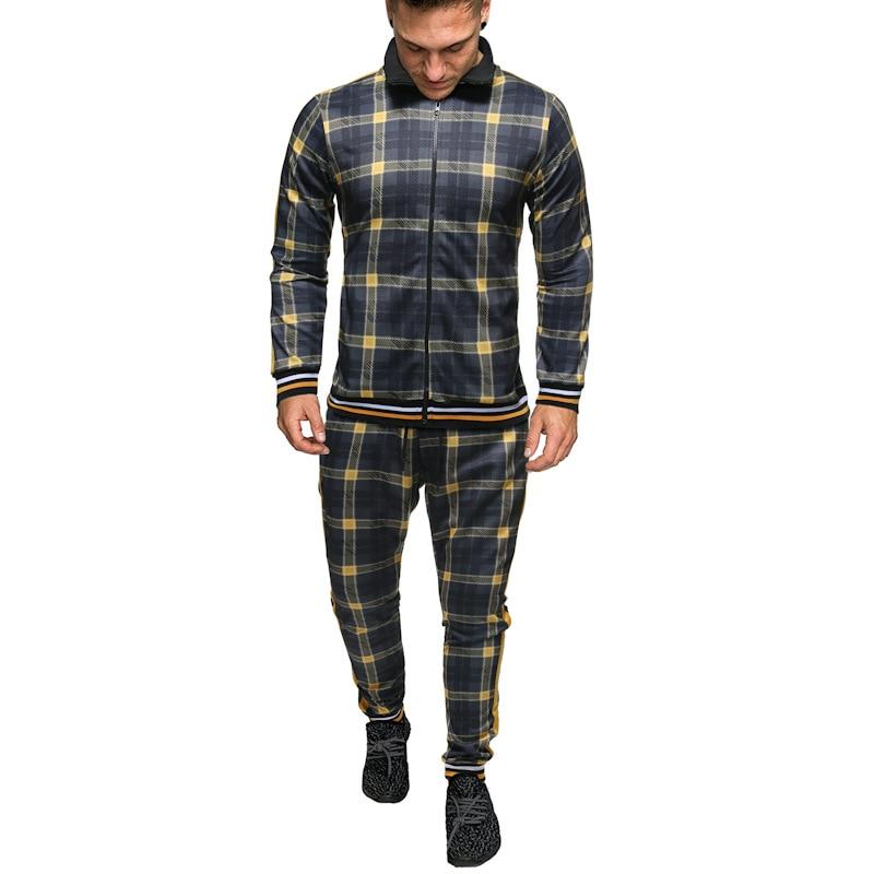 New Colorful Plaid Men Casual Zipper Set Autumn Tracksuit Male Sweatshirt Pocket Fashion Running Jackets Men Tracksuit Sets