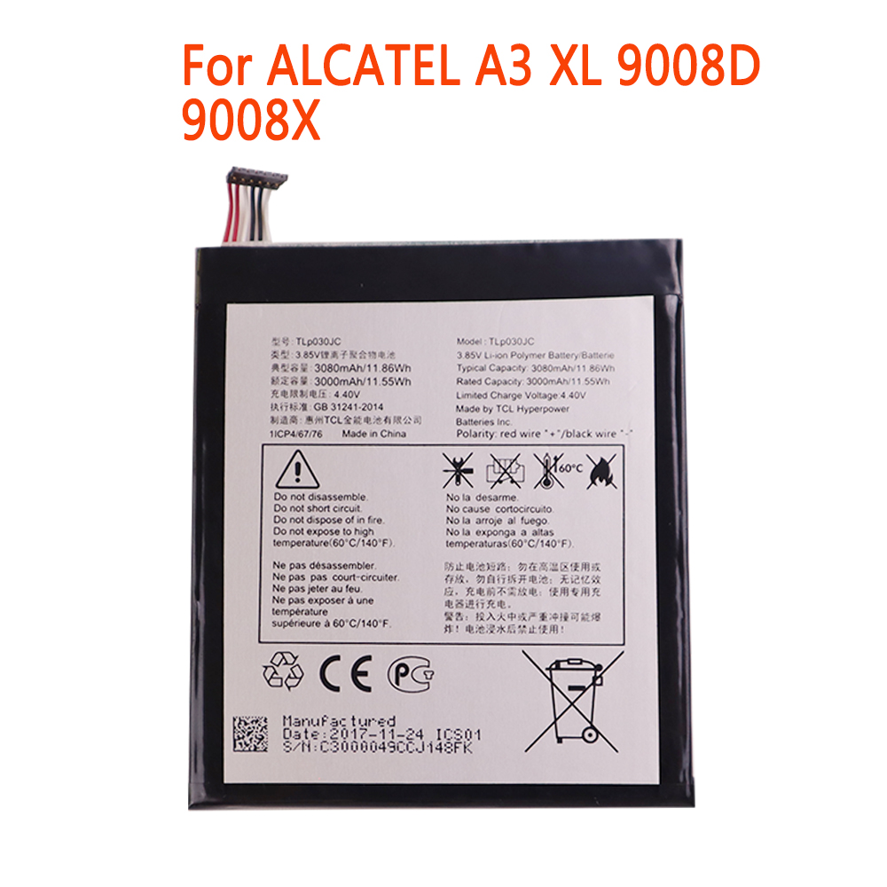 High Quality Mobile Phone Battery 3000mAh TLP030JC Battery For Alcatel One Touch A3 XL 9008 9008X 9008D Batteries