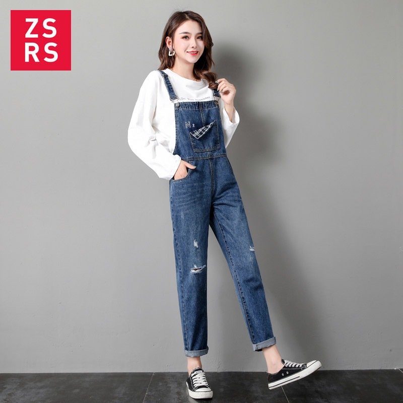 Zsrs 2020 Retro washed denim straps Harlan jeans denim jumpsuit with buckles pockets strap jeans strap jeans Vintage Denim pants