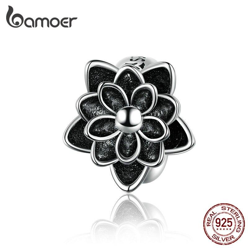 BAMOER 925 Sterling Silver Black Flower Lotus Charm Compatible For Original Snake Bracelet Bangle Jewelry Making SCC1196
