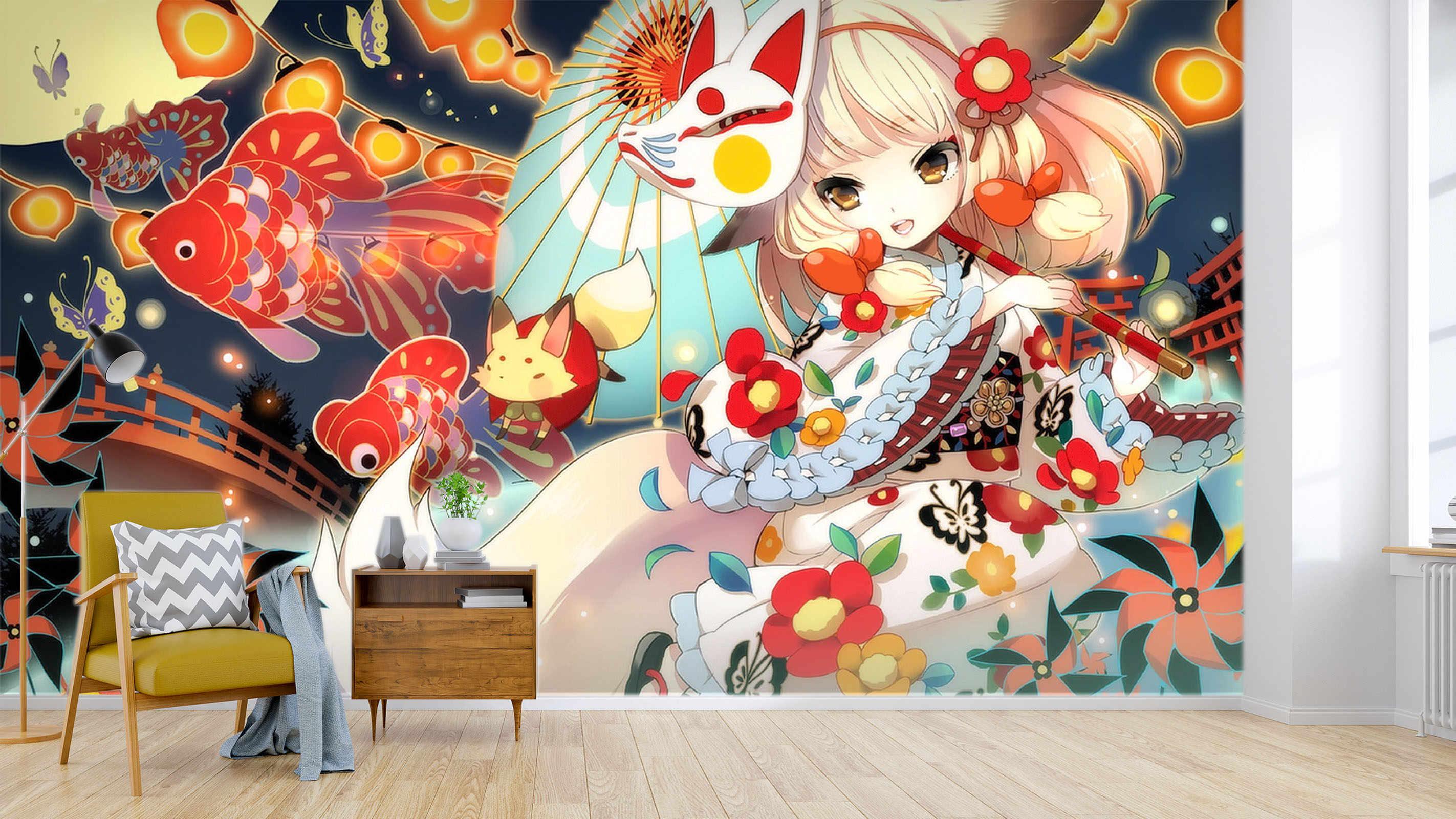 [自己粘着] 3D かわいいアニメ少女赤ドレス 265 日本アニメ壁紙壁画壁プリント壁画ベリー