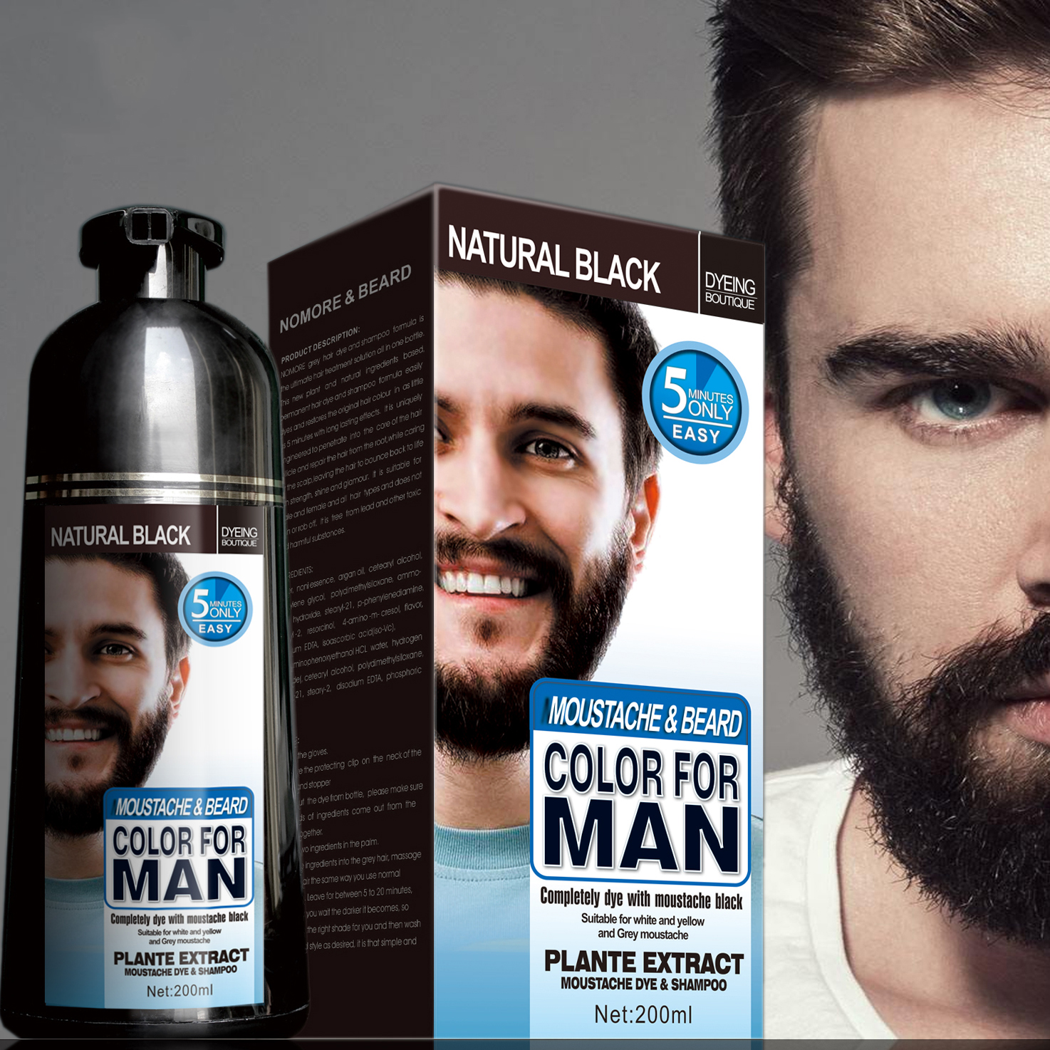Mokeru Natural Long Lasting 200ml Permanent Beard Dye Shampoo For Men Beard Dying Removal White Grey Beard Hair