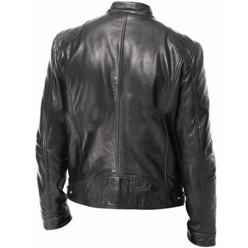 Осенняя теплая зимняя мужская кожаная куртка Мужские куртки мужские s пальто с воротником-стойкой кожаные байкерские куртки мотоциклетная кожаная куртка
