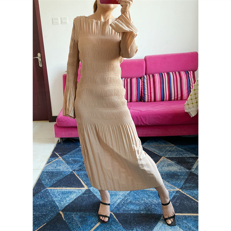 Women Dress 2019 Fall Winter New Half Wrapped Shoulder Sleeve Women's Dress