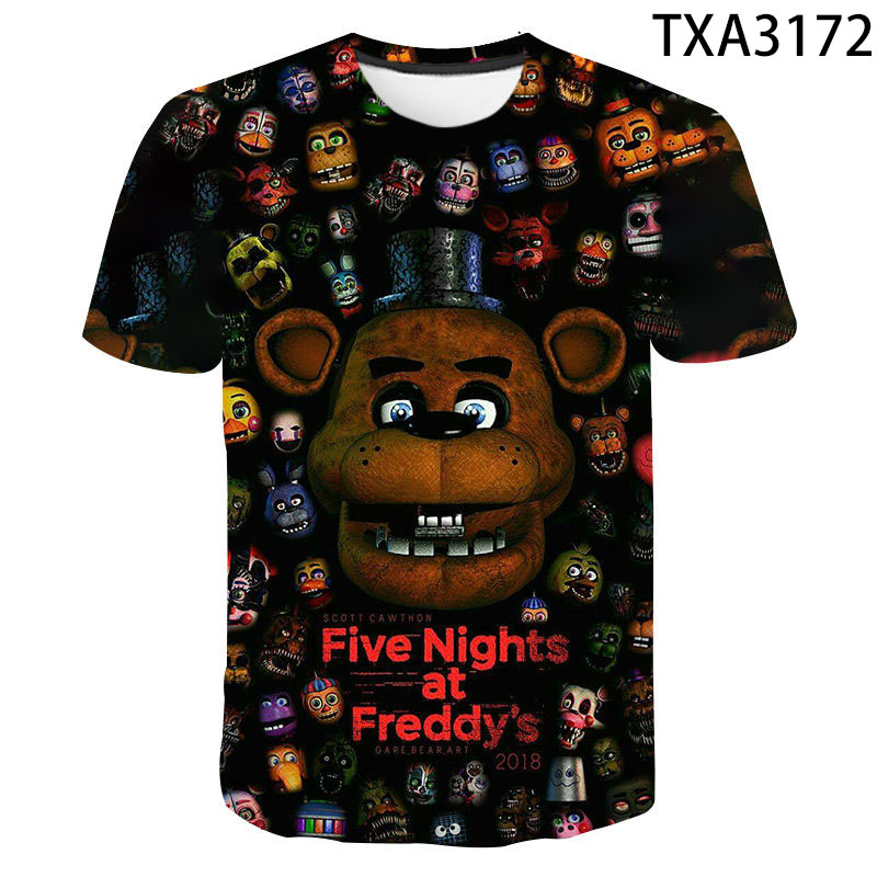 Fnaf 3D T Shirt 2020 New Men Women Children Five Nights At Freddy's Summer Streetwear Anime Tops Boy Girl Kids Tee Clothing