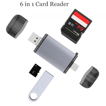 6 In 1 Memory Card Readers Multifunction Type-C + USB + Micro-USB + SD Card + TF Card + USB Female Port Card Adapter For Laptop