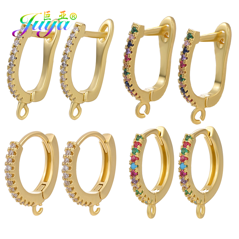 Juya Handmade Earrings Accessories Supplies Gold/Silver Earring Hooks Clasps For DIY Women Fine Earrings Jewelry Making Material