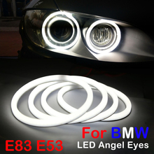 4PCS LED Car Angel Eagle Eyes Halo Rings Cotton Ligh Flexible Tube Headlight White Headlamp For BMW BMW E83 X3 E53 Car-styling цена 2017
