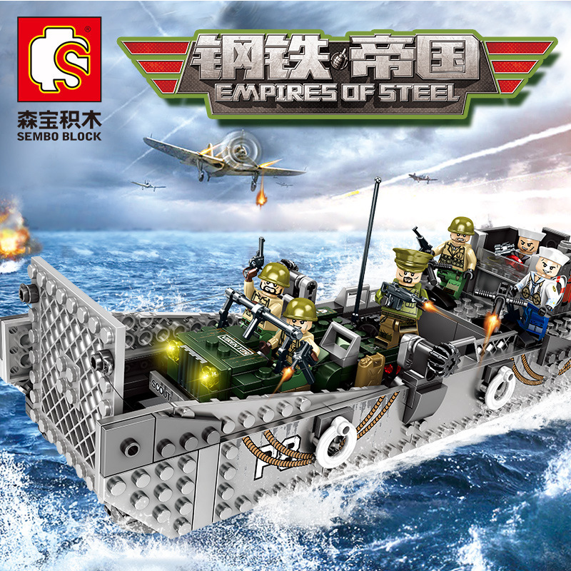 New 413pcs WW2 Normandy Landing US Army Building Blocks  LCM3 Landing Ship Model Compatible Legoing SWAT Military Toys Gifts