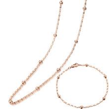 1 Set 2mm Chain 585 Rose Gold Color Bracelet Necklace Women Bead Ball Set Jewelry(China)