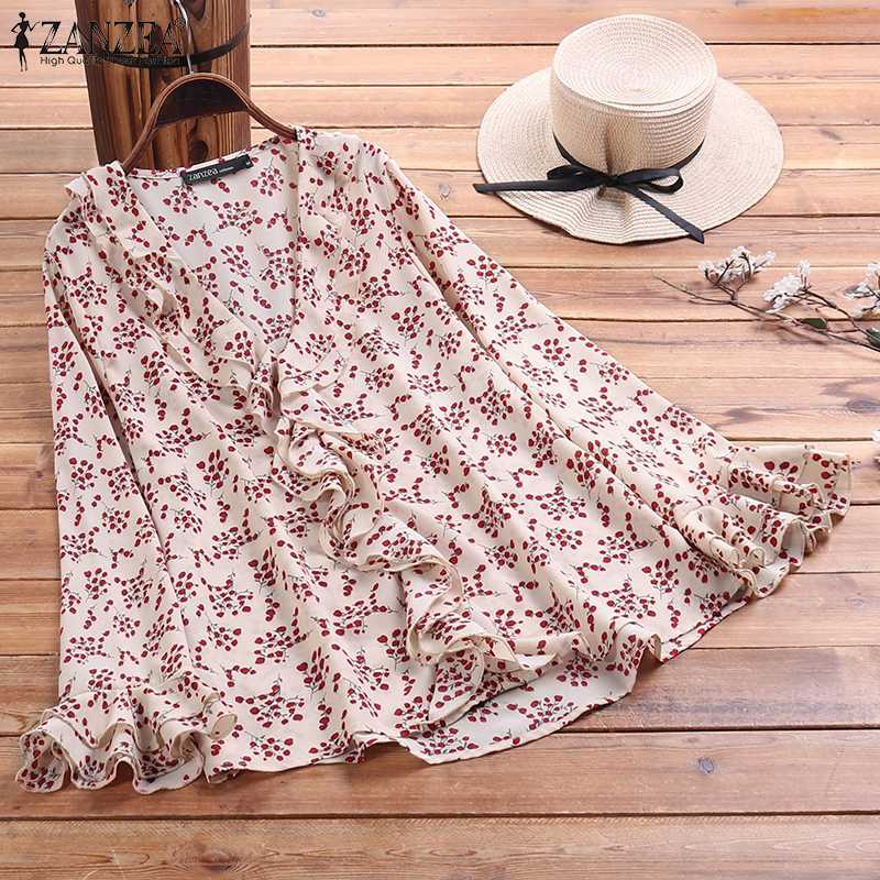 ZANZEA 2020 Summer Women Tops And Blouses Long Sleeve V Neck Shirt Floral Printed Shirts Tops Vintage Ruffled Tunic Plus Size 7
