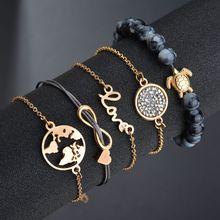 Hello Miss Weaving Love 8 Letters Fashion Bracelet World Map Turtle Beaded Bracelet Five-piece Women's Bracelet Jewelry Gifts