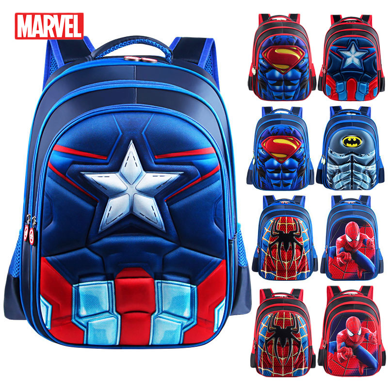 MARVEL Superman Batman Spiderman School Bags Captain America Boy Girl Children Kindergarten Teenager Schoolbags Kids Backpacks