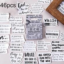 English Newspaper Design New Arrival 46Pcs Vintage Style Decorative Stickers Scrapbook Diary Album Decal Decor