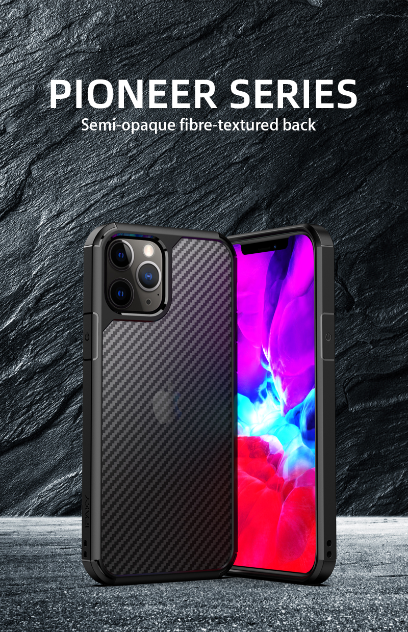 Clear Crystal Carbon Fiber Texture Durable Hybrid Soft TPU Bumper + Hard PC Back Cover Case for iPhone 12 Pro Max