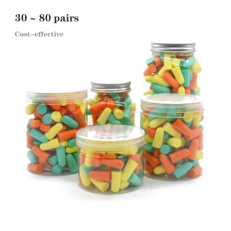 30-80 Pairs Bottled Earplugs Cost-effective Soft Earplugs Used For Studing,sleeping Noise Reduction 3-color Mixed Bottle