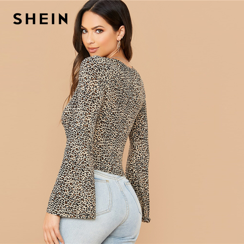 SHEIN Leopard Print V Neck Ruched Drawstring Hem Sexy Tee Women Tops Spring Flounce Sleeve Ladies Form Fitted Glamorous T-shirts 2