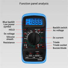XL830L Handheld Digital Multimeter LCD Backlight Portable AC/DC Ammeter Voltmeter Ohm Voltage Tester Meter Multimetro dt 17n handheld digital multimeter lcd backlight manual portable auto range ad dc voltmeter ammeter ohm voltage test multimeter