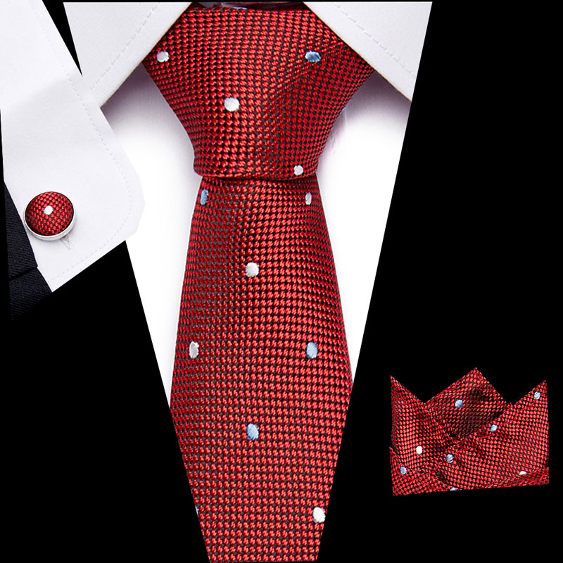 Mens New 7.5cm Classic Cotton Ties Fashion  Red Dots Ties Colorful Printed Party Neck Ties Pocket Square Cufflinks Set