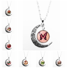 2019 New Colorful Butterfly Dynamic Pattern Series Glass Convex Round Pendant Moon Necklace Girl Jewelry Gift