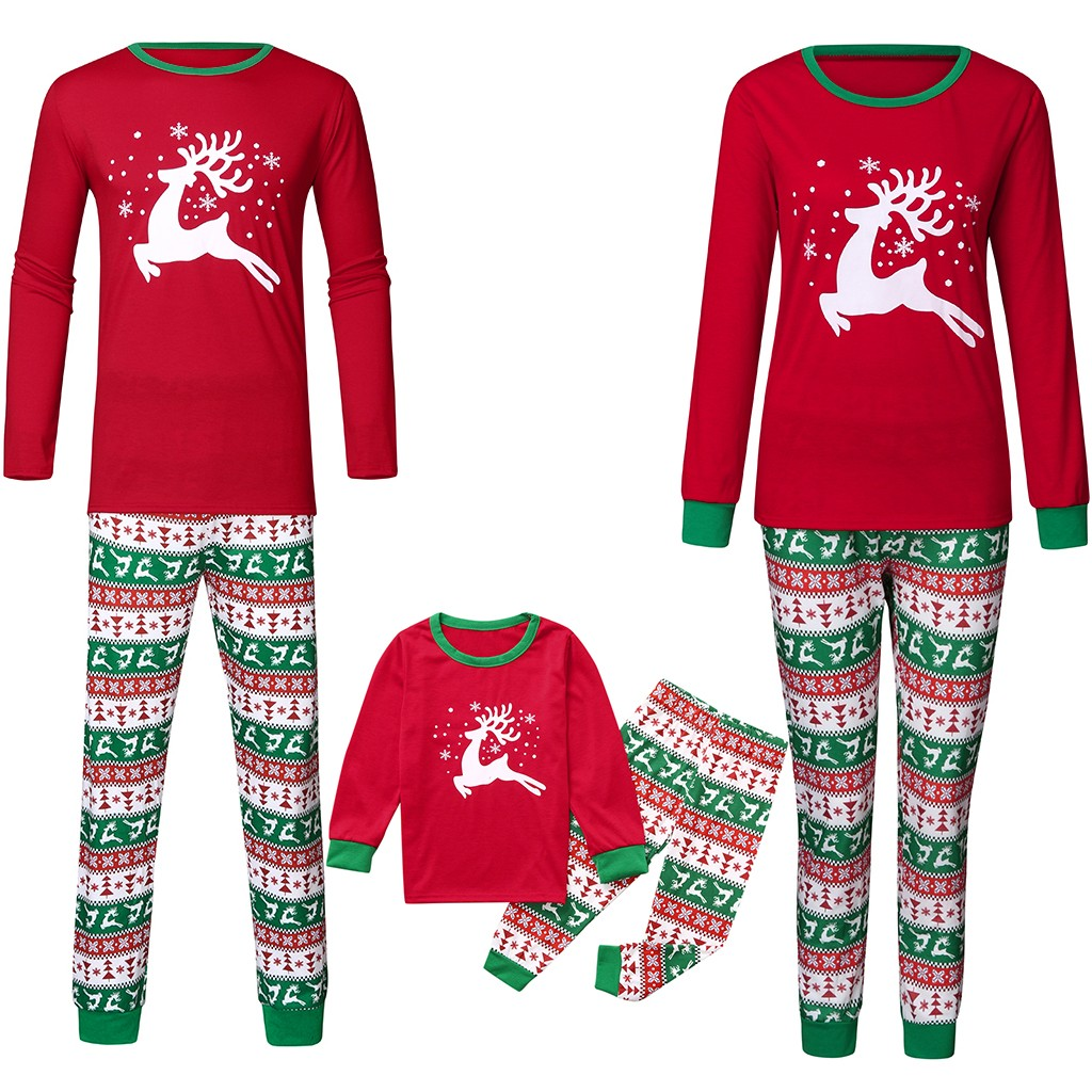 Women Christmas Elk Cartoon Print Cotton Pajamas Winter Sleepwear Set Homewear Top And Pant US Stock