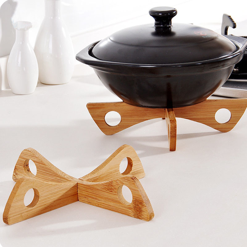 1Pc Removable Multi Function Cooking Pot Mats Rack Bamboo Placemat Holder Bowl Pads Kitchen Tools