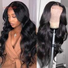 Cierre Peluca de la onda del cuerpo peruano 100% cabello humano pelucas con minimechones 4X4 Peluca de encaje 180% densidad Arabella Remy Pre arrancado Peluca de encaje