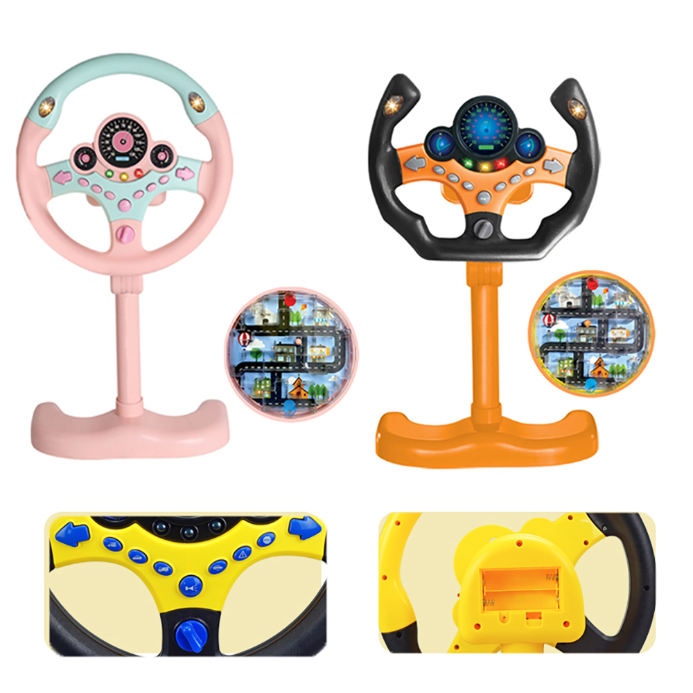 Child Simulation Steering Wheel Early Education Maze Walking Ball Puzzle With Sound Light Electronics Boy Birthday Toy Gift