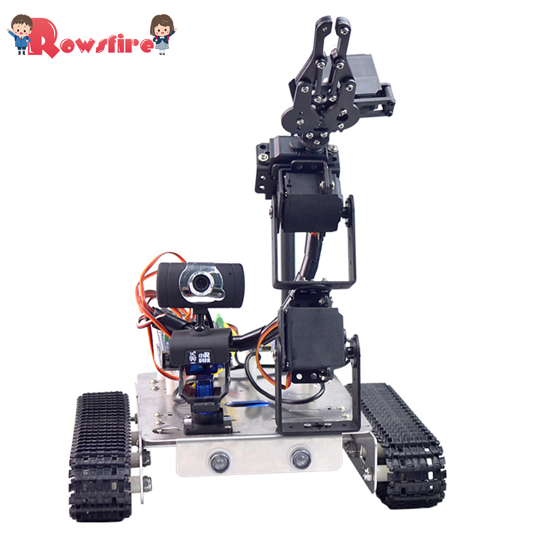 Programmable Robot DIY Wifi+Bluetooth Stainless Steel Chassis Track Tank Steam Educational Car with Arm for Raspberry Pi 4 1