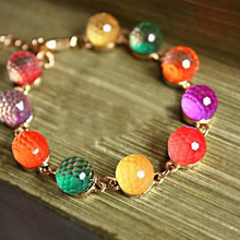 Round Beads Travel Dating Braided Office Colorful Home Party Shopping Artificial Crystal Women Bracelet