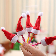 10pcs/lot Mini Christmas Hats Red Santa Claus Hat Bottle Candy Cap Decoration for Party Table Xmas