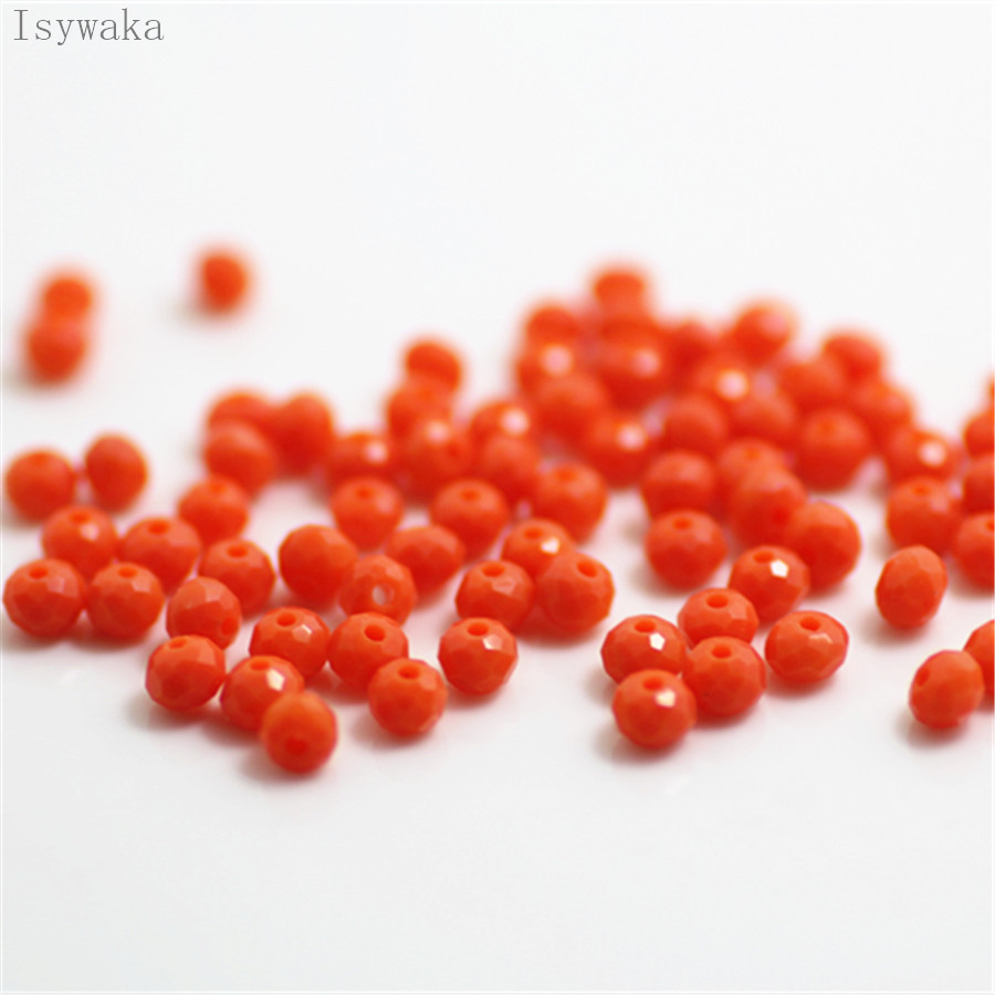 Isywaka <font><b>Coral</b></font> <font><b>Red</b></font> Colors 3x4mm 145pcs Rondelle Austria faceted Crystal Glass Beads Loose Spacer Round Beads Jewelry Making image