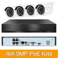 4ch 5MP POE Kits H.265 System CCTV Security PoE NVR Outdoor Metal Waterproof IP Camera Surveillance Alarm Video P2P P6Spro KITS