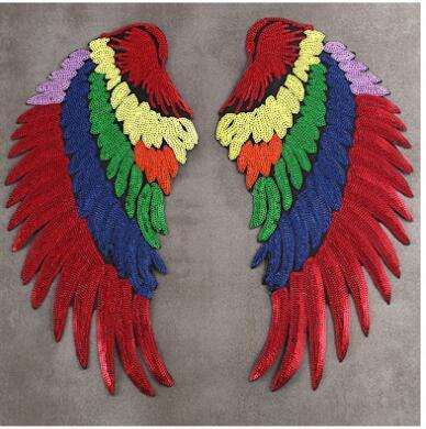 La HAUTE Lot de 2 patchs /à repasser avec sequins brod/és ailes dange /à faire soi-m/ême Rouge