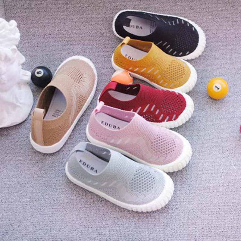 Summer Fashion Children Breathable Comfortable Soft Bottom Lazy Shoes Hollow Out Air Mesh Solid Color Candy Shoes For Unisex
