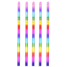 New Wooden Rainbow Pencil Green Color Colorful Appearance School Student Children Stationery Office Writing Pencil 5 Pieces