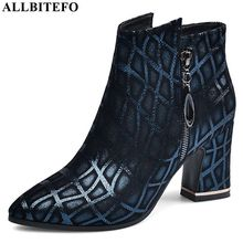 ALLBITEFO pointed toe women boots printing genuine leather Elegant ankle boots Autumn Winter for women fashion boots comfortable