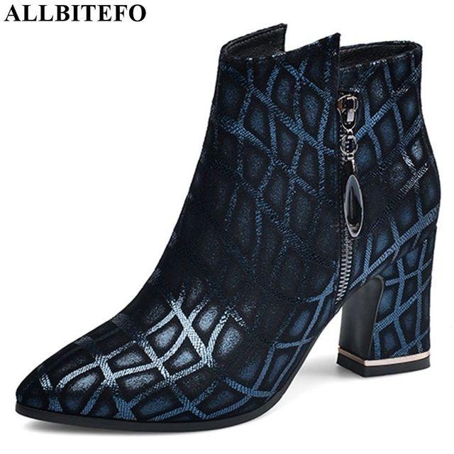 ALLBITEFO ポインテッドトゥの女性ブーツ印刷本革エレガントな秋冬女性のファッションブーツ快適な