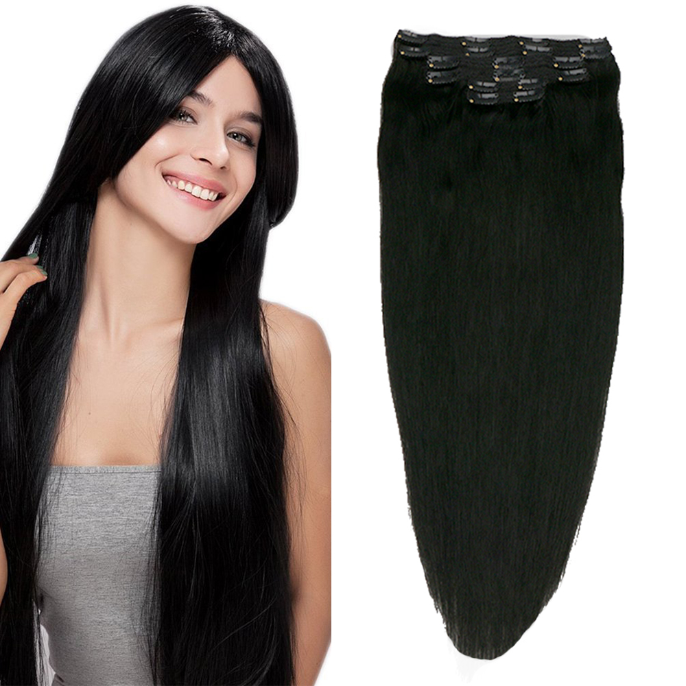 Toysww Hair 100g 120g Brazilian Remy Straight Hair Clip In Human Hair Extensions Dark Color #1 Full Head 6Pcs/Set
