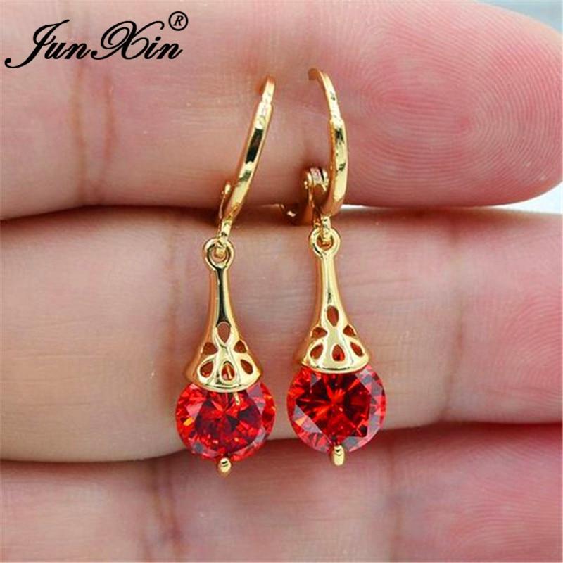 Cute Round Crystal Stone Drop Earrings For Women Yellow Gold Rainbow Red Pink White Zircon Dangle Earrings Bride Wedding Jewelry