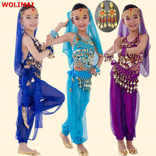 Taniec brzucha tkaniny kostium dla dzieci kostiumy Bellydance dla dzieci taniec brzucha tańczące dziewczyny Bollywood Indian Performance Set
