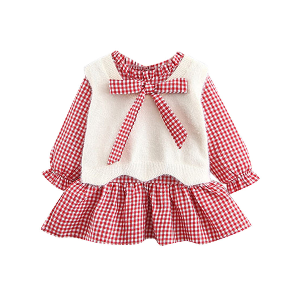 Baby Girls Dress Skirt Kids Dress for Girls Toddler Kid Baby Long Sleeve Dot Print Splice Bow Princess Dress Clothes Pink 0-3 Months