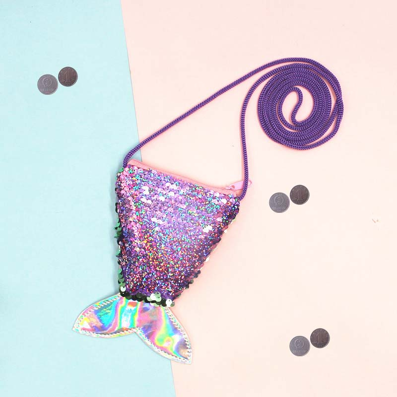 Mermaid Tail Sequins Coin Purse Women Mini Wallets Small Crossbody Bag Girls Fashion Long String Wallet Children Money Card Pack
