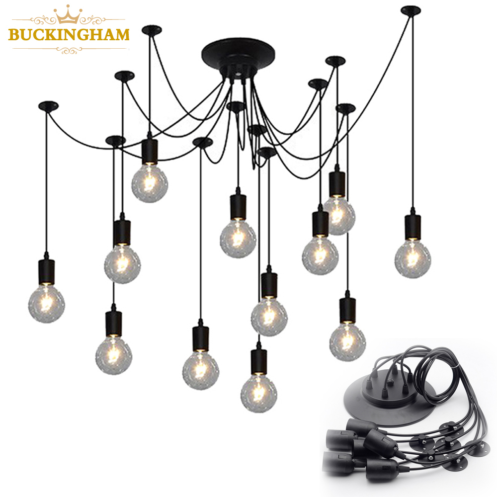 Vintage Spider Pendant Lamps Retro Edison Bulb Chandelier Mordern Nordic Antique Hanging Adjustable DIY Ceiling Lamp