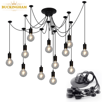 Vintage Spider Pendant Lamps Retro Edison Bulb Chandelier Mordern Nordic Antique Hanging Adjustable DIY Ceiling Lamp 2 4 10pcs set diy parts edison light pendant lamp part of the ceiling plate d68mm small iron canopy diy pendant ceiling mount