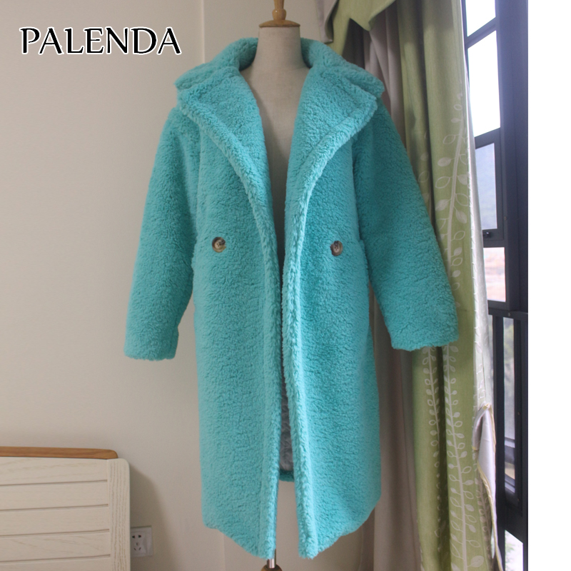 2019 New Women Faux Fur Coat Thick Warm Weight About 1.7kg Teddy Coat Skyblue And Yellow