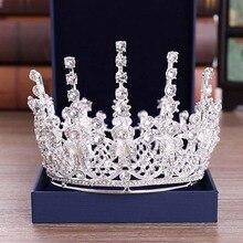 FORSEVEN tam daire yuvarlak taç ve yapay elmas taç kristal Diadem düğün gelin koronal başlığı saç takı aksesuarları JL