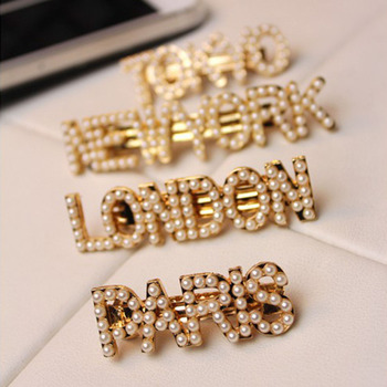 Hair Clips Simple Pearl Fashion Barrettes Paris London City Letter Hair Styling Tools Accessories Hair Pins Girls Ladies simple minds london