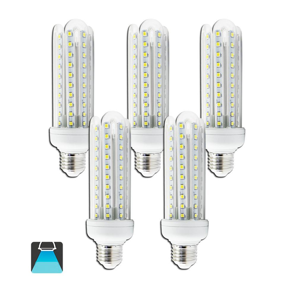 Aigostar - LED Bulbs LED B5 T3 4U E27, 360°, 15W Equivalent To 120W , 1200 Lumens, CRI≥80Ra,6400K, 15000 Hours ,pack Of 5